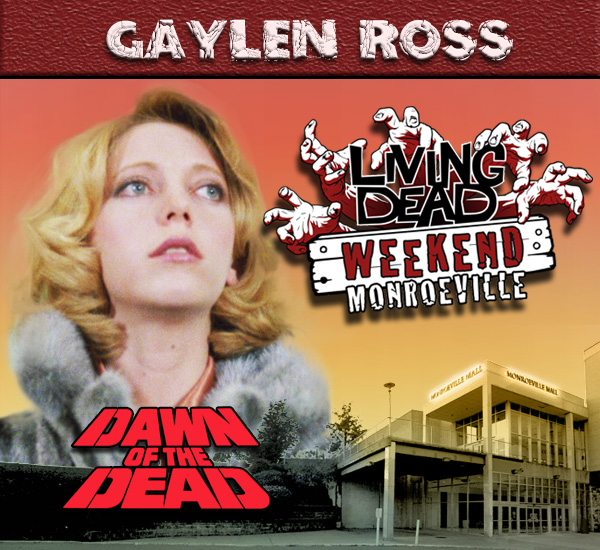 Gaylen Ross as Fran in George Romero's Dawn of the Dead Zombies have taken over the world and a group of survivors hold up in the Monroeville shopping mall.  Join us at the Living Dead Weekend for a Dawn of the Dead reunion at the Mall