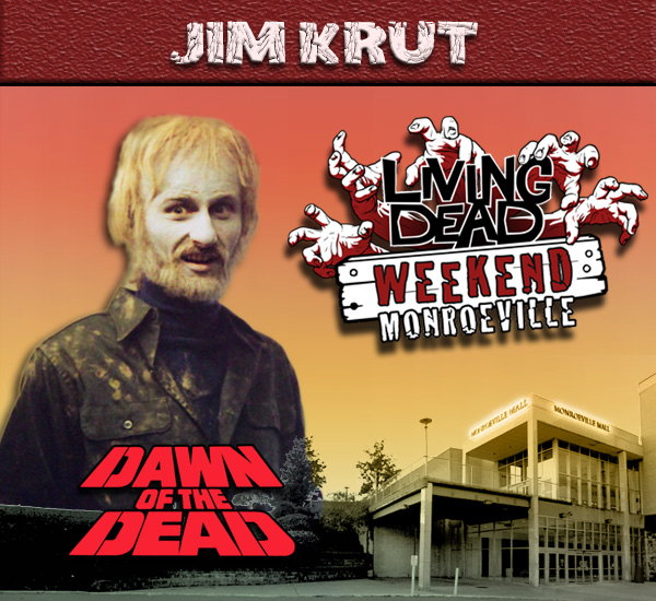 Jim Krut as the Helicopter Zombie in George Romero's Dawn of the Dead Zombies have taken over the world and a group of survivors hold up in the Monroeville shopping mall.  Join us at the Living Dead Weekend for a Dawn of the Dead reunion at the Mall