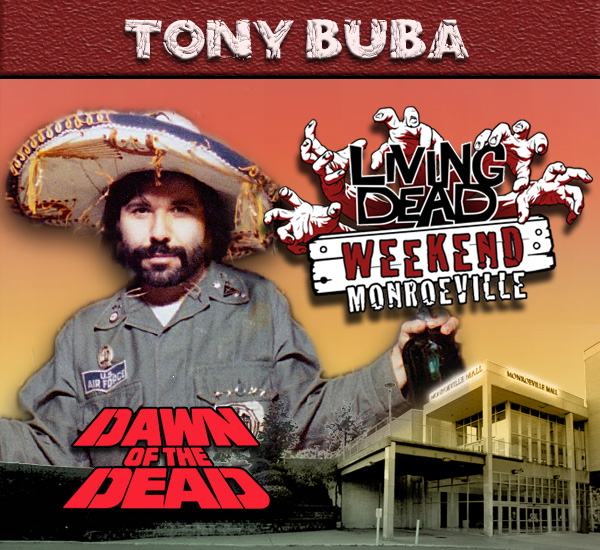 Tony Buba in George Romero's Dawn of the Dead Zombies have taken over the world and a group of survivors hold up in the Monroeville shopping mall.  Join us at the Living Dead Weekend for a Dawn of the Dead reunion at the Mall