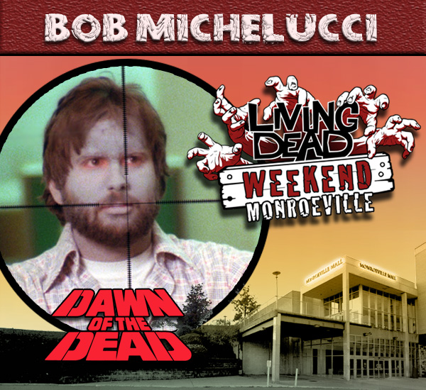 Bob Michelucci as the Scope Zombie in George Romero's Dawn of the Dead Zombies have taken over the world and a group of survivors hold up in the Monroeville shopping mall.  Join us at the Living Dead Weekend for a Dawn of the Dead reunion at the Mall