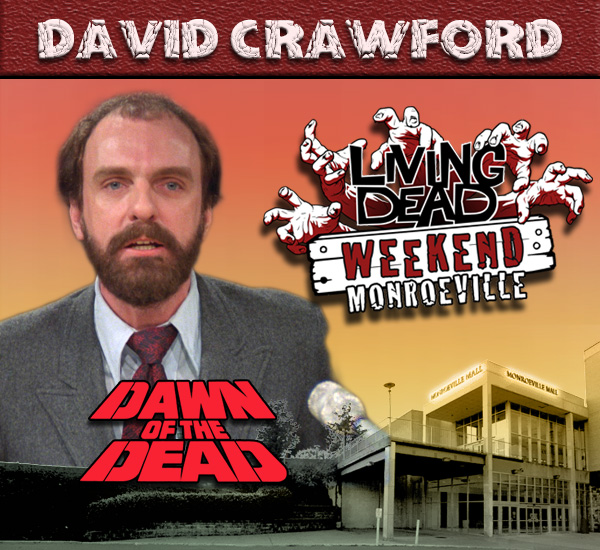 David Crawford as Dr Foster in George Romero's Dawn of the Dead Zombies have taken over the world and a group of survivors hold up in the Monroeville shopping mall.  Join us at the Living Dead Weekend for a Dawn of the Dead reunion at the Mall
