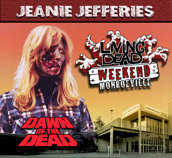 Jeanie Jefferies as the Blonde Zombie in George Romero's Dawn of the Dead Zombies have taken over the world and a group of survivors hold up in the Monroeville shopping mall.  Join us at the Living Dead Weekend for a Dawn of the Dead reunion at the Mall