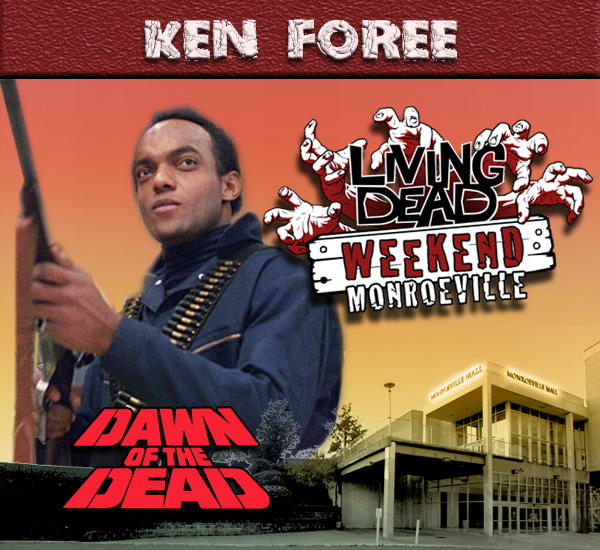 Ken Foree as Peter Washington in George Romero's Dawn of the Dead Zombies have taken over the world and a group of survivors hold up in the Monroeville shopping mall.  Join us at the Living Dead Weekend for a Dawn of the Dead reunion at the Mall