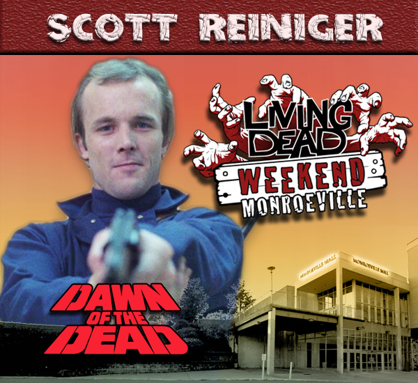 Scott Reiniger in George Romero's Dawn of the Dead Zombies have taken over the world and a group of survivors hold up in the Monroeville shopping mall.  Join us at the Living Dead Weekend for a Dawn of the Dead reunion at the Mall