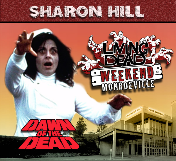Sharon Ceccatti Hill as the iconic Nurse Zombie in George Romero's Dawn of the Dead Zombies have taken over the world and a group of survivors hold up in the Monroeville shopping mall.  Join us at the Living Dead Weekend for a Dawn of the Dead reunion at the Mall