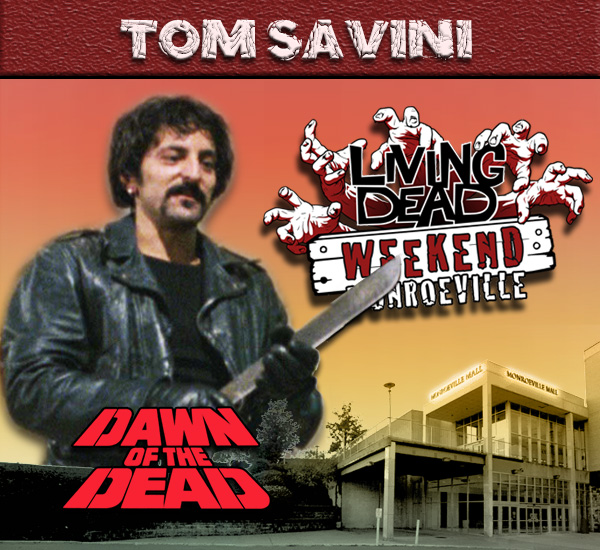 Tom Savini as Blade in George Romero's Dawn of the Dead Zombies have taken over the world and a group of survivors hold up in the Monroeville shopping mall.  Join us at the Living Dead Weekend for a Dawn of the Dead reunion at the Mall